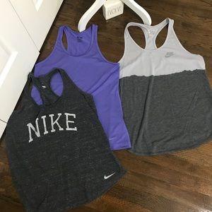 3 Nike tanks 2 dri fit